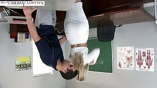 Extremely wondrous  humungous racked blonde professor was fucked right on the table