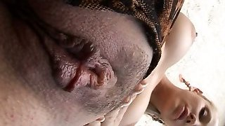 Blonde sweetheart Sandy's natural jugs and fat hairy gash are awesome