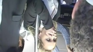 Horny blond groped to multiple orgasm on bus & boinked