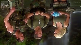 2 soldiers bang wondrous  milf Stormy Daniels in the tent