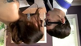 Busty raven haired sweetie blows smelly fuckpole of her young schoolteacher insatiably