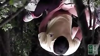 caught Asian couple fuck in the forest