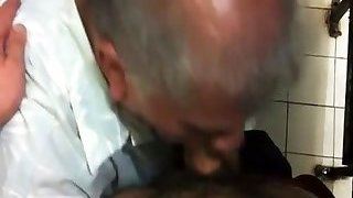 Old man get plow in rest room nice Mouth cum