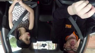 Fake Driving School Rough back seat fuck for smallish captivated learner