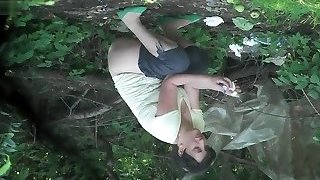 Women desperately bust their bladders in the woods