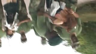 Asian sex gimp gets fucked in military group orgy