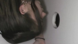 Amateur Bitch Sucking Dick At A Glory Hole On Her Knees