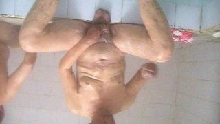 chinese old man in sauna
