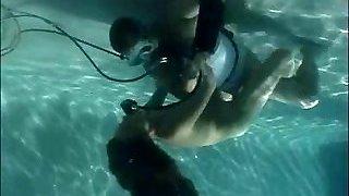 Scuba woman pool care