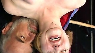 Cute young blonde with perky baps is restrained for nip clamp have fun