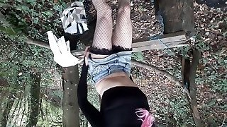 Crossdresser pink hair woodland fuck stick fun