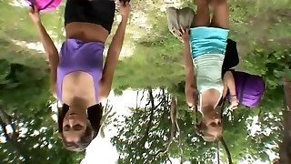 Two hot girlfriends have fuck-a-thon outdoors