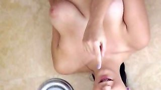 Passion-HD Nymph masturbating in douche gets fucked