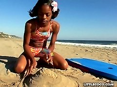 Young Little Coco Masturbates At Beach