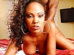 Ebony lady Lacey Duvalle gives a big wang a sexy oral and gets her pussy fucked in many ways