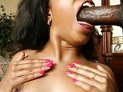 Ebony pornstar Sydnee Capri in stockings showing her tits and taking a big cock anally