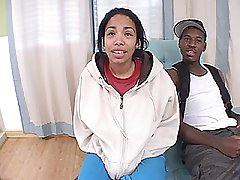 Light skinned big tit ebony teen gets back door fucked