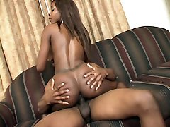 Sexy ebony model Solana takes cock cramming and hard bottoming before finishing off with a cum facial