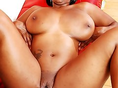 Stacy Adams lets her good-sized breasts jiggle while spreading her legs for hardcore sex