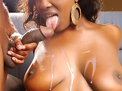 Ebony beauty Aryana Starr goes for a wild session of fucking and gets herself sprayed with...