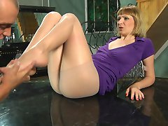 Horny chick with her yummy nyloned feet welcomes a guy up her soaking pussy