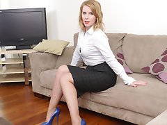 Kinky Milf Jenny comes home from work and gives you a tour in a pair of very sexy blue high heel...