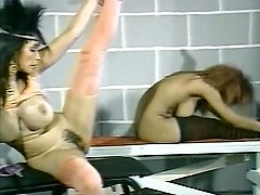 Becky Savage, Busty Belle, Candy Samples in vintage porn clip