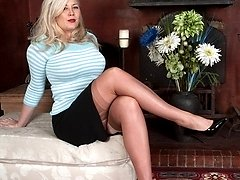 Buxom, blonde Michelle in vintage stockings and sheer panties!