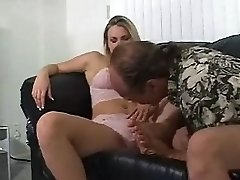 Big tits chubby blonde palying with her clit while getting toe sucked