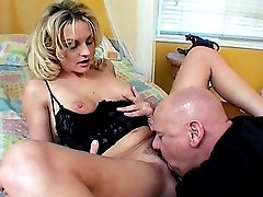 Watch Sindy Lange as she gets pounded in her hairy twat by a handsome bald guy
