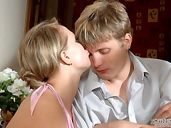 Blonde in evening gown and luxury hose luring her neighbor into nylon sex