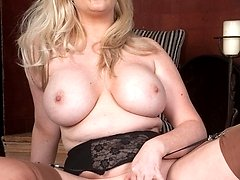 Buxom, Michelle in Harmony point stockings and sheer panties!