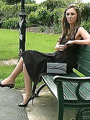 Debbie is so attractive and here she combines a cutaway style black dress with a cutaway style...