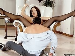 Sexy brunette fucking in seamed stockings