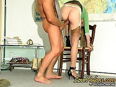 Unabashed nylon clad coed seducing her teacher and getting hammered hard