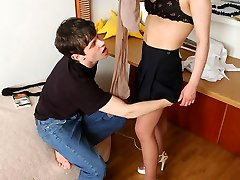 Luscious chick in flesh-colored hose in mind-blowing upskirt flash scenes