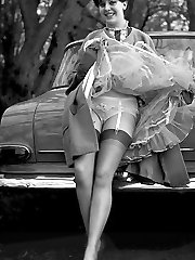 Retro lingerie pictures featuring pretty gals pose in bras, panties and sheer stockings very...