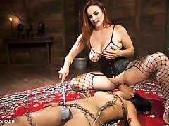 Mistress Bella Rossi breaks in another sexy submissive slut with rope and chain bondage,...