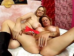 Sex-crazed boosty mature lesbians go wild fucking with a strapped dildo