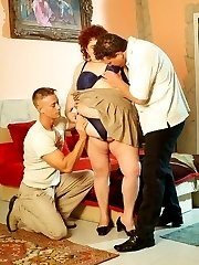 Hot fatty Gaborne gets her big tits fondled and played with by two younger men