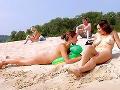 Steaming hot teen nudists naked at a public beach