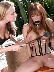 Sexy domme Nicole Sheridan bound and gag her Asian submissive partner and gave her a good dose...