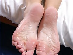 Brunette in nasty foot action
