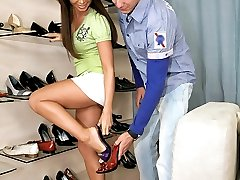 Amazing green eyed babe gets her perfect ass body fucked hard after shopping for shoes in this...