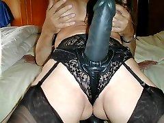Janes sucks some nylon Tgirl cock hard