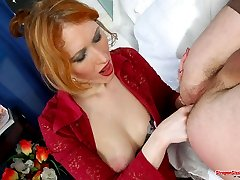 Strap-on armed chick is a real pro in sissy guys ass ramming and pumping