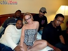 Sexy housewife fucks a room full of hung black guys