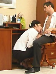 Red hot babe in black tights luring her co-worker into footsy fucking game