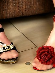 Dressed-up babe chooses the best high heel shoes for her yummy nyloned feet
