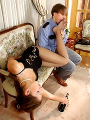 Policeman examining drunk gal before licking nyloned feet in sexy sandals